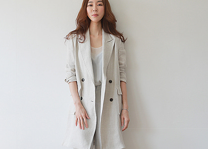 ro-st D.W button long linen jacket