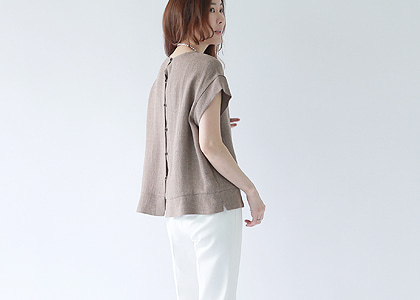 뒷 button 캡소매 blouse & vest -fabric by italy-