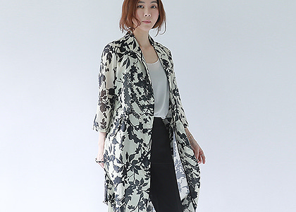 Y-st  flower long silk jacket -파샤 단독직수입-