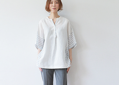 통소매 button st. 813 blouse