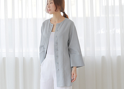 소매단  button linen 3110 jacket