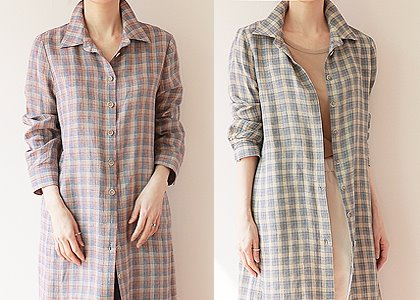 G-st 체크 long linen534 blouse