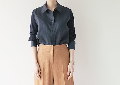 배색 linen&cotton blouse